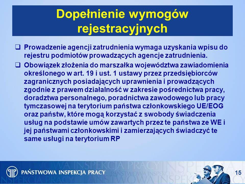 Dopełnienie wymogów rejestracyjnych Prowadzenie agencji zatrudnienia wymaga uzyskania wpisu do rejestru podmiotów prowadzących agencje zatrudnienia. O