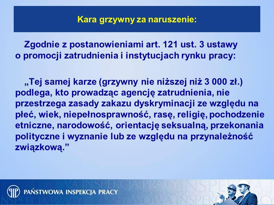 Kara grzywny za naruszenie: Zgodnie z postanowieniami art. 121 ust. 3 ustawy o promocji zatrudnienia i instytucjach rynku pracy: Tej samej karze (grzy