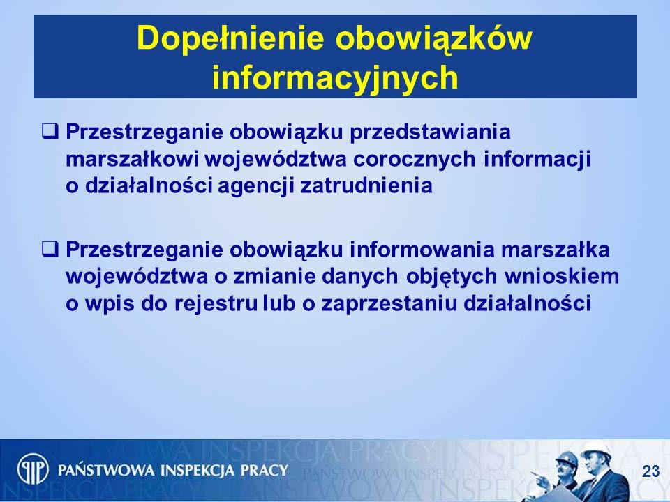 Dopełnienie obowiązków informacyjnych Przestrzeganie obowiązku przedstawiania marszałkowi województwa corocznych informacji o działalności agencji zat
