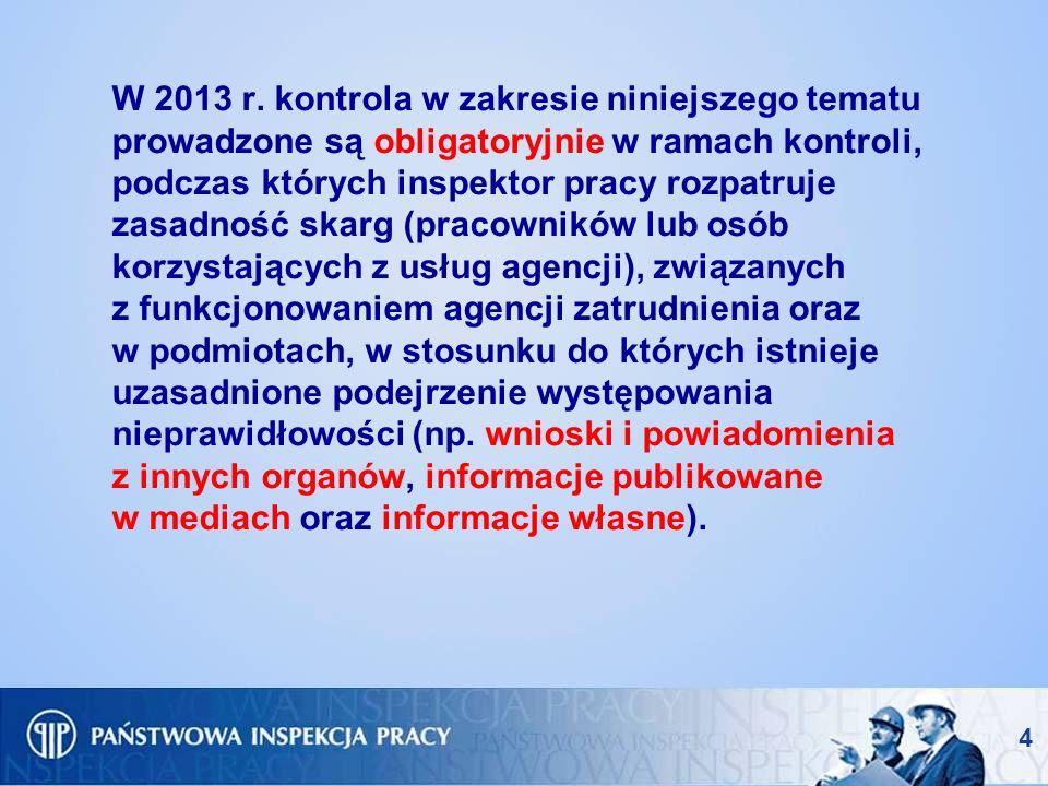 W 2013 r. kontrola w zakresie niniejszego tematu prowadzone są obligatoryjnie w ramach kontroli, podczas których inspektor pracy rozpatruje zasadność