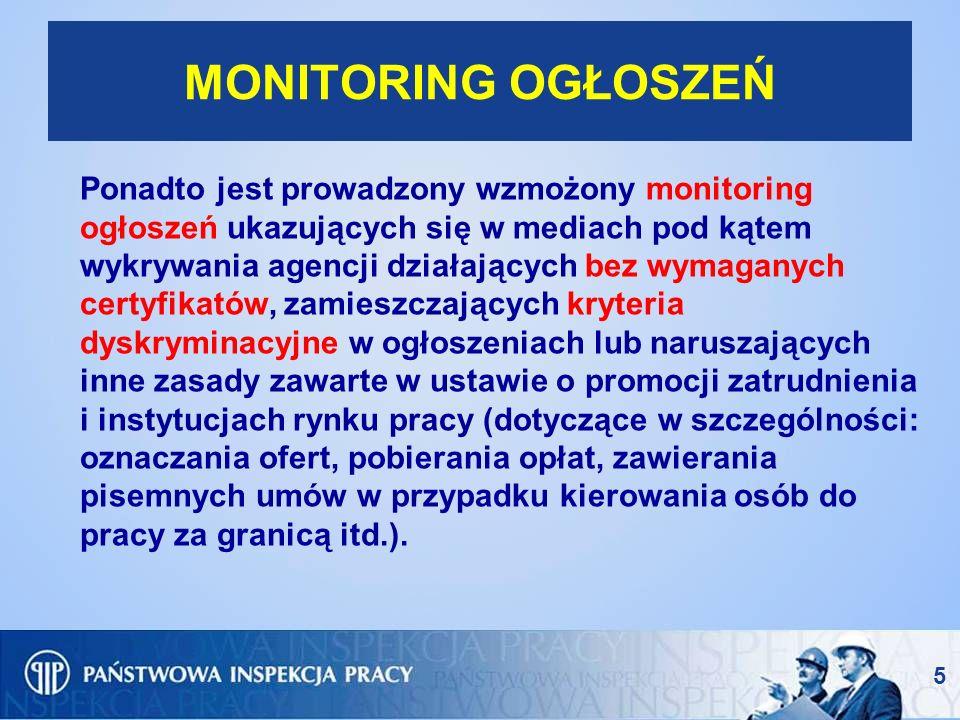5 MONITORING OGŁOSZEŃ Ponadto jest prowadzony wzmożony monitoring ogłoszeń ukazujących się w mediach pod kątem wykrywania agencji działających bez wym