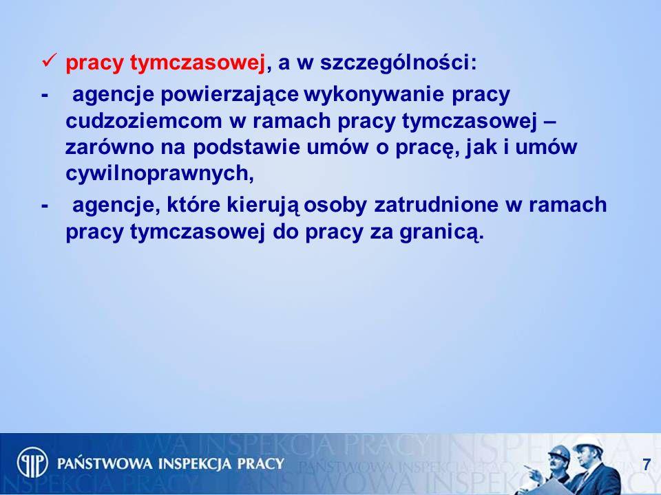 pracy tymczasowej, a w szczególności: - agencje powierzające wykonywanie pracy cudzoziemcom w ramach pracy tymczasowej – zarówno na podstawie umów o p