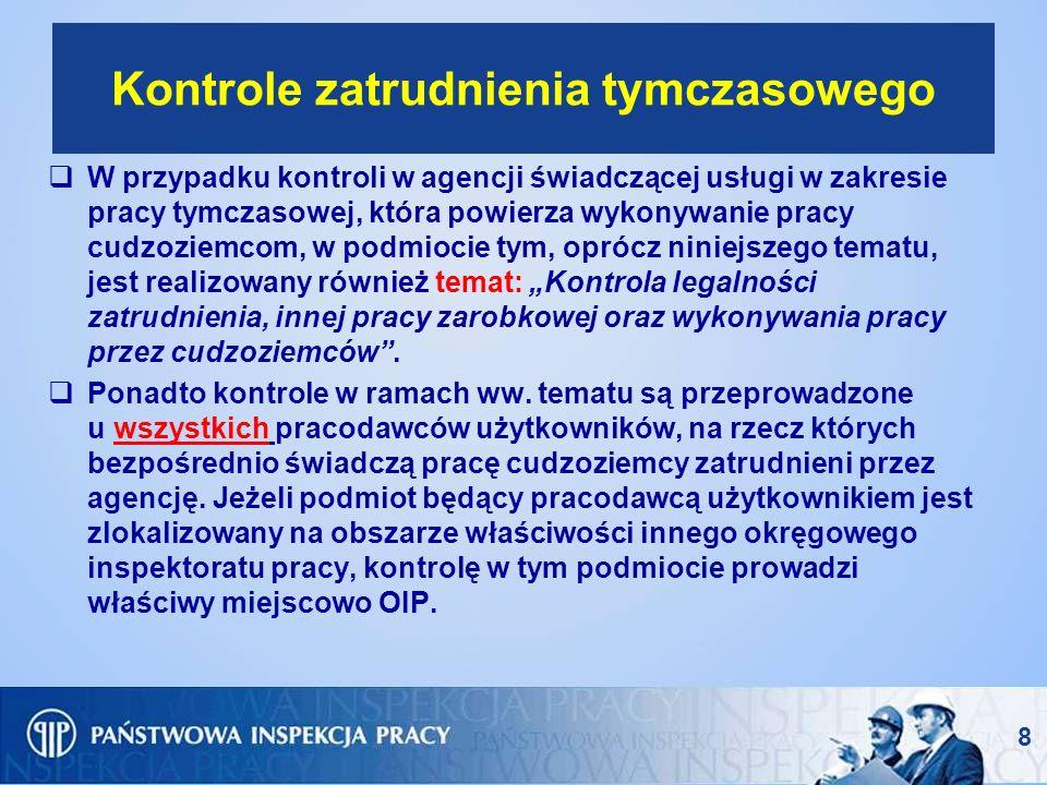 8 Kontrole zatrudnienia tymczasowego W przypadku kontroli w agencji świadczącej usługi w zakresie pracy tymczasowej, która powierza wykonywanie pracy