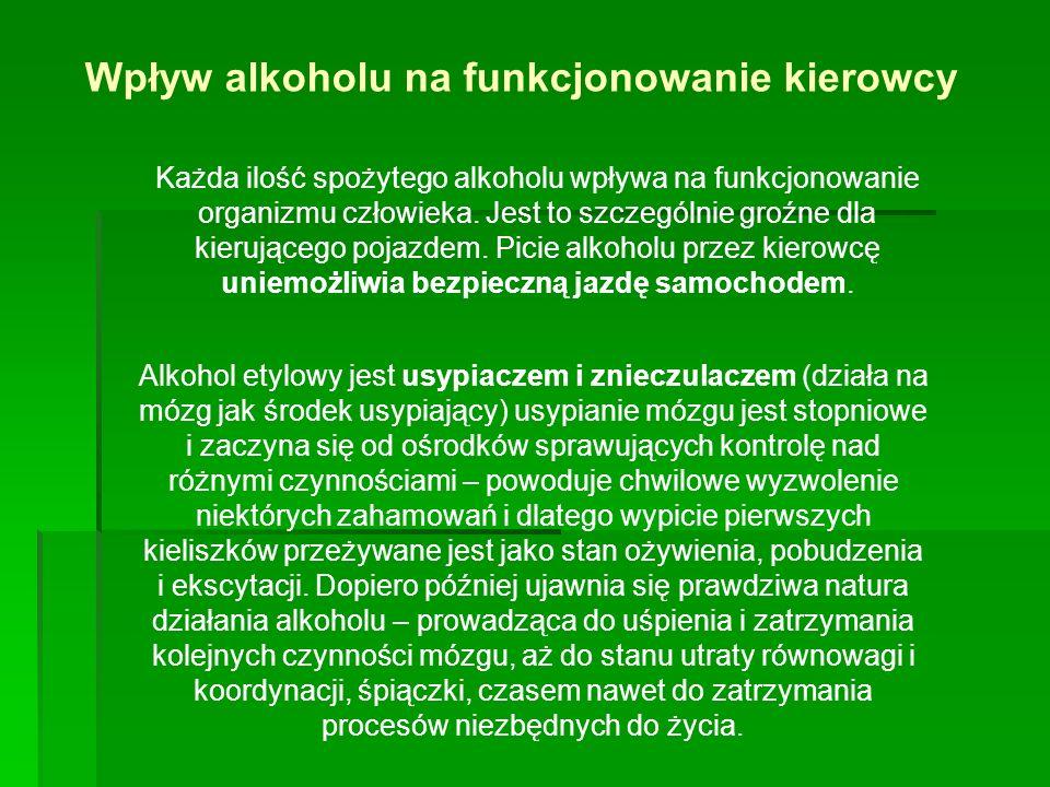 Wpływ alkoholu na funkcjonowanie kierowcy Każda ilość spożytego alkoholu wpływa na funkcjonowanie organizmu człowieka.