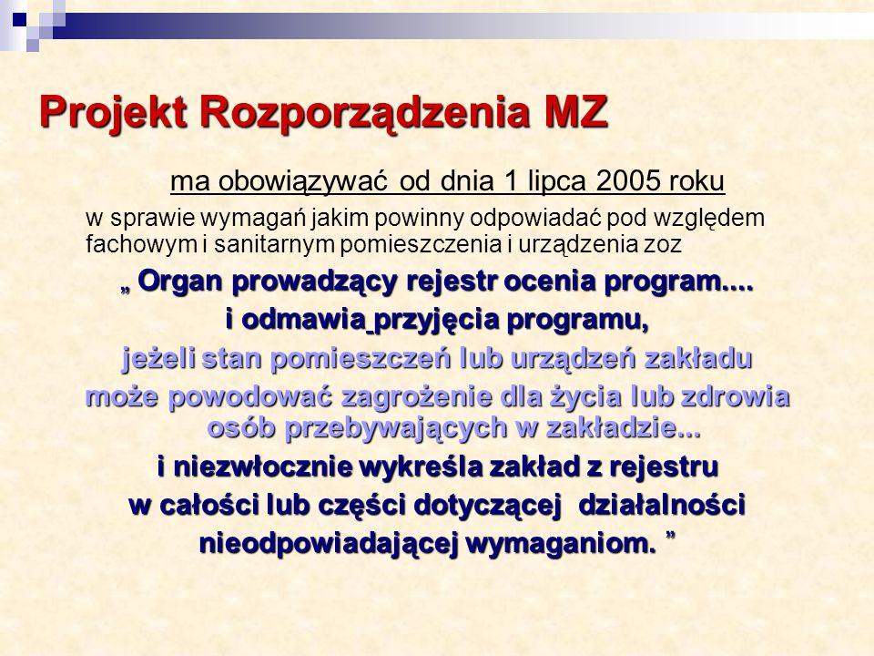 Projekt Rozporządzenia MZ ma obowiązywać od dnia 1 lipca 2005 roku w sprawie wymagań jakim powinny odpowiadać pod względem fachowym i sanitarnym pomieszczenia i urządzenia zoz Organ prowadzący rejestr ocenia program....
