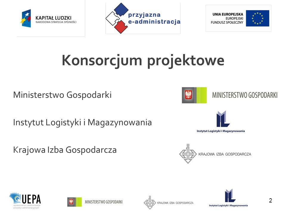 Konsorcjum projektowe 2 Ministerstwo Gospodarki Instytut Logistyki i Magazynowania Krajowa Izba Gospodarcza