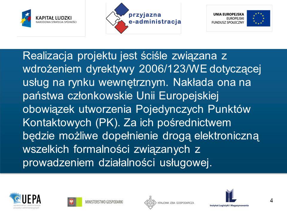 4 Realizacja projektu jest ściśle związana z wdrożeniem dyrektywy 2006/123/WE dotyczącej usług na rynku wewnętrznym.