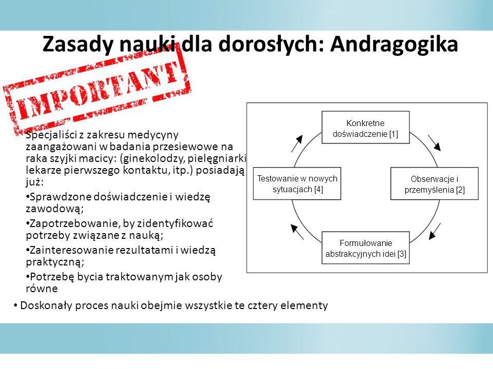 Zasady nauki dla dorosłych: Andragogika Specjaliści z zakresu medycyny zaangażowani w badania przesiewowe na raka szyjki macicy: (ginekolodzy, pielęgn