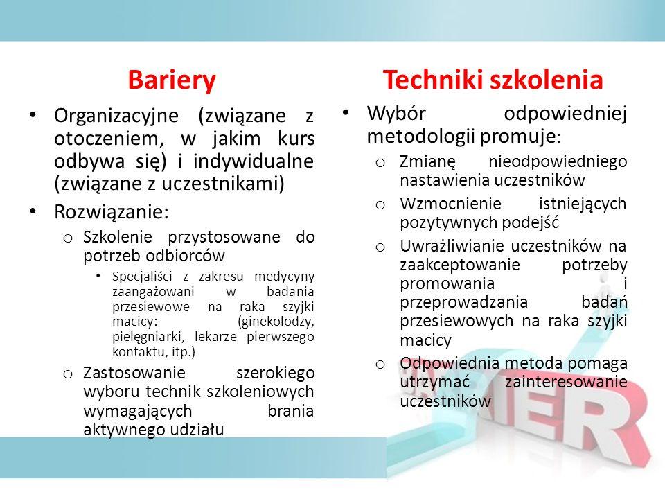 Bariery Organizacyjne (związane z otoczeniem, w jakim kurs odbywa się) i indywidualne (związane z uczestnikami) Rozwiązanie: o Szkolenie przystosowane