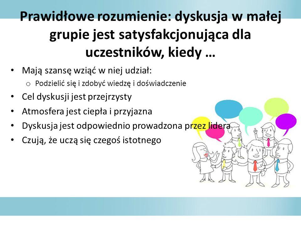 Prawidłowe rozumienie: dyskusja w małej grupie jest satysfakcjonująca dla uczestników, kiedy … Mają szansę wziąć w niej udział: o Podzielić się i zdob