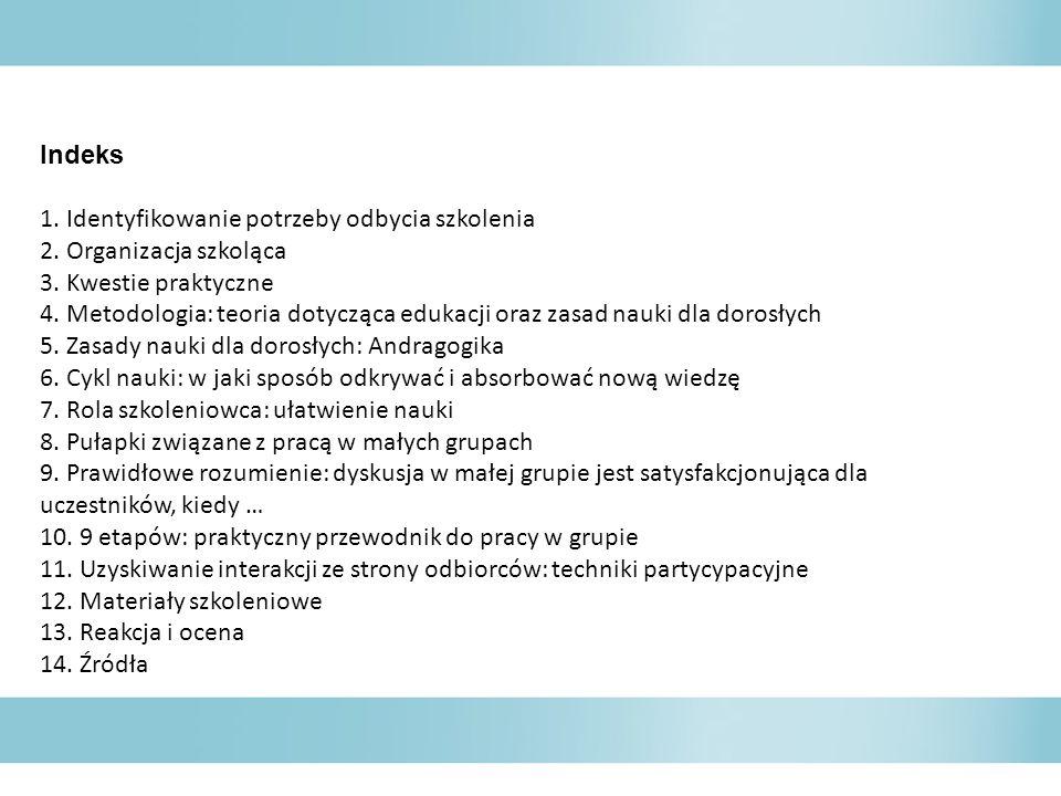 Indeks 1. Identyfikowanie potrzeby odbycia szkolenia 2. Organizacja szkoląca 3. Kwestie praktyczne 4. Metodologia: teoria dotycząca edukacji oraz zasa