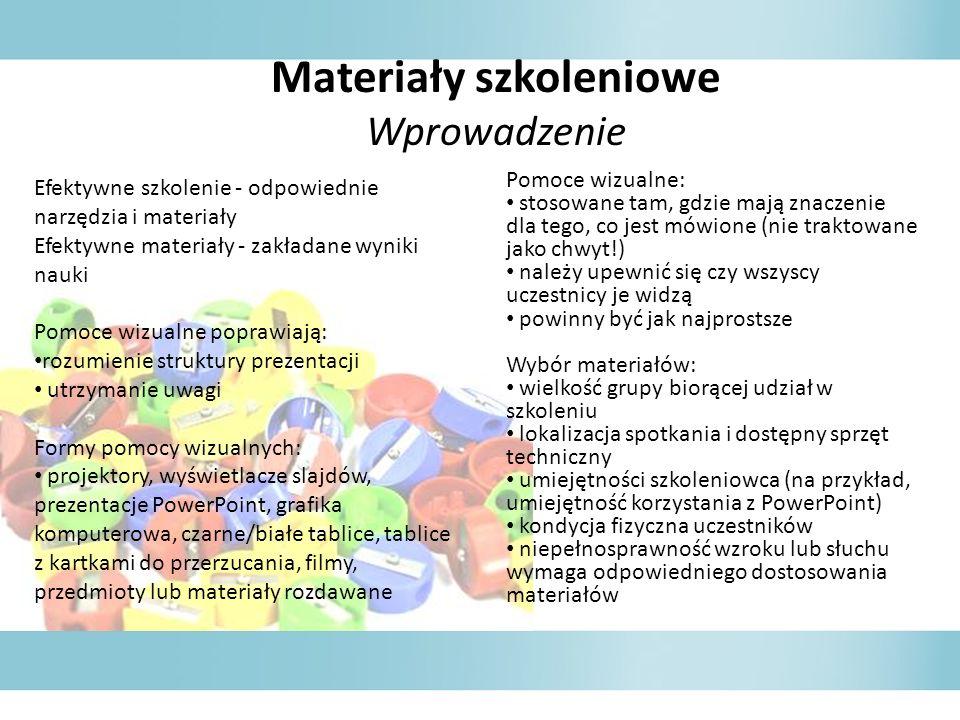 Materiały szkoleniowe Wprowadzenie Efektywne szkolenie - odpowiednie narzędzia i materiały Efektywne materiały - zakładane wyniki nauki Pomoce wizualn