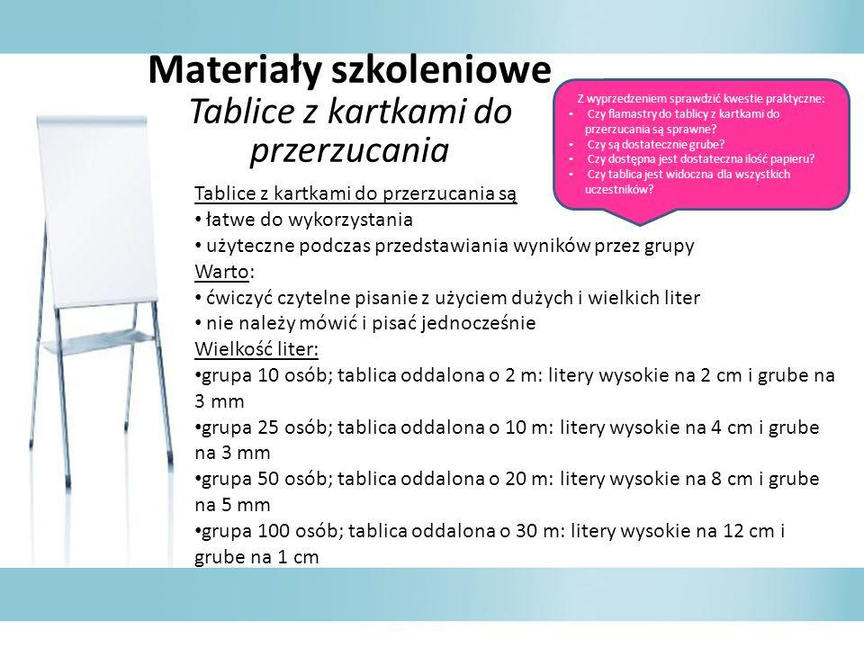 Materiały szkoleniowe Tablice z kartkami do przerzucania Tablice z kartkami do przerzucania są łatwe do wykorzystania użyteczne podczas przedstawiania