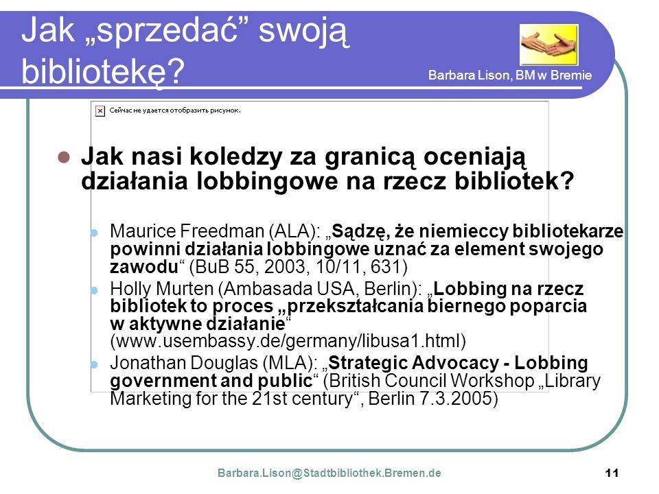 Barbara Lison, BM w Bremie 11 Jak sprzedać swoją bibliotekę.