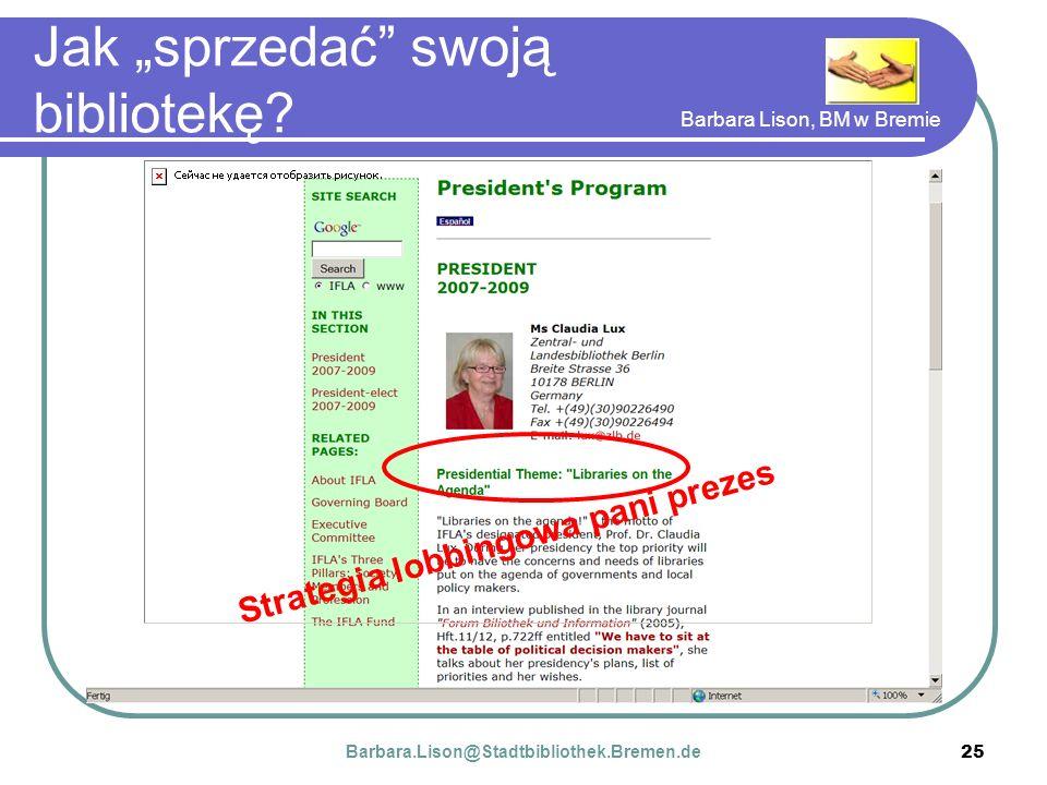 Barbara Lison, BM w Bremie 25 Jak sprzedać swoją bibliotekę.