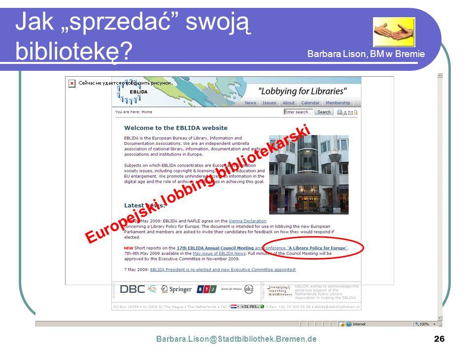 Barbara Lison, BM w Bremie 26 Jak sprzedać swoją bibliotekę.