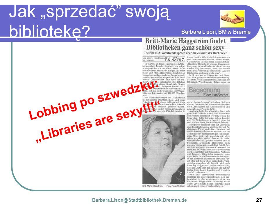Barbara Lison, BM w Bremie 27 Jak sprzedać swoją bibliotekę .