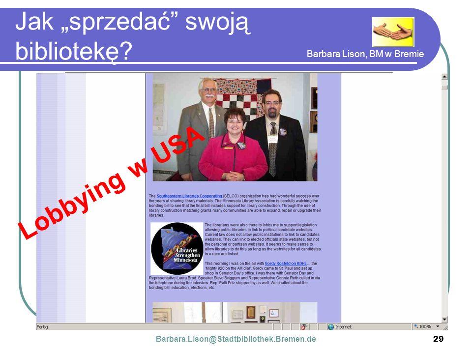 Barbara Lison, BM w Bremie 29 Jak sprzedać swoją bibliotekę.