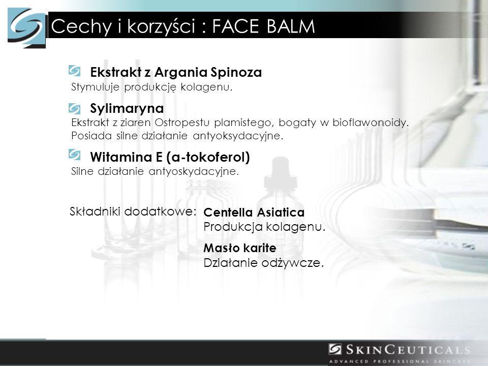 Cechy i korzyści : FACE BALM Ekstrakt z Argania Spinoza Stymuluje produkcję kolagenu. Sylimaryna Ekstrakt z ziaren Ostropestu plamistego, bogaty w bio