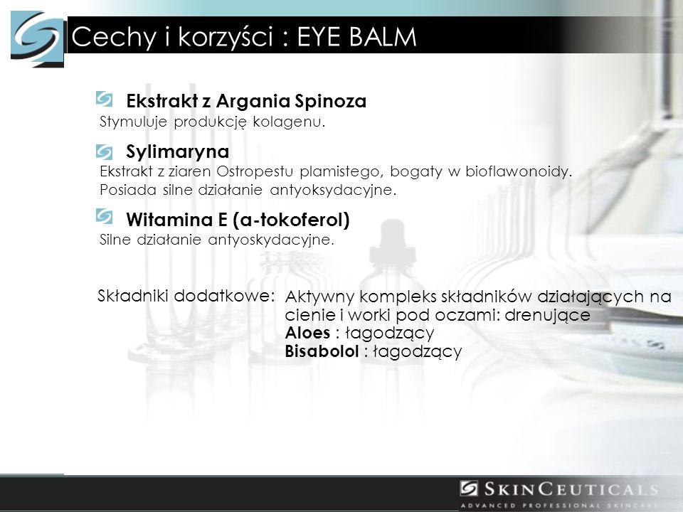 Cechy i korzyści : EYE BALM Ekstrakt z Argania Spinoza Stymuluje produkcję kolagenu. Sylimaryna Ekstrakt z ziaren Ostropestu plamistego, bogaty w biof