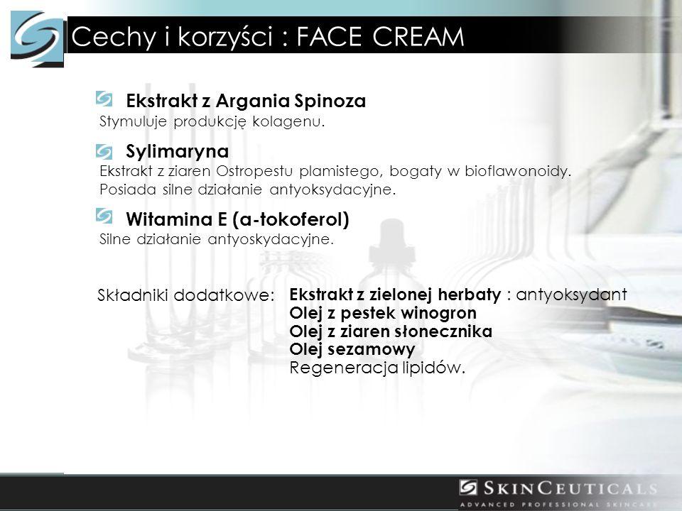 Cechy i korzyści : FACE CREAM Ekstrakt z Argania Spinoza Stymuluje produkcję kolagenu. Sylimaryna Ekstrakt z ziaren Ostropestu plamistego, bogaty w bi