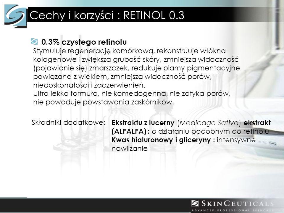 Cechy i korzyści : RETINOL 0.3 0.3% czystego retinolu Stymuluje regenerację komórkową, rekonstruuje włókna kolagenowe i zwiększa grubość skóry, zmniejsza widoczność (pojawianie się) zmarszczek, redukuje plamy pigmentacyjne powiązane z wiekiem, zmniejsza widoczność porów, niedoskonałości i zaczerwienień.