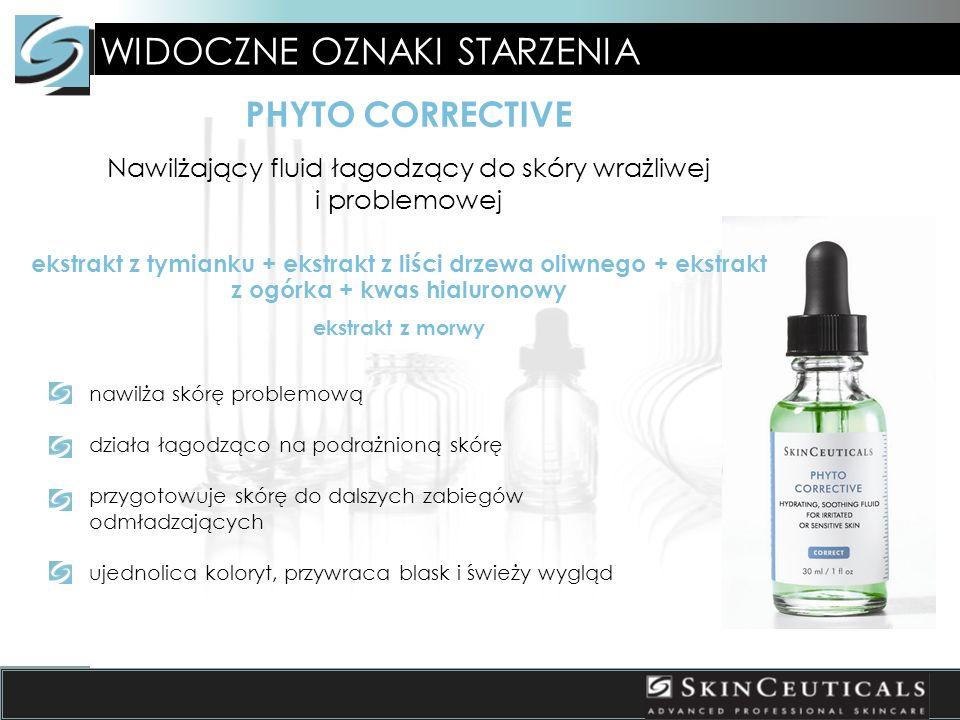 WIDOCZNE OZNAKI STARZENIA PHYTO CORRECTIVE Nawilżający fluid łagodzący do skóry wrażliwej i problemowej nawilża skórę problemową działa łagodząco na podrażnioną skórę przygotowuje skórę do dalszych zabiegów odmładzających ujednolica koloryt, przywraca blask i świeży wygląd ekstrakt z tymianku + ekstrakt z liści drzewa oliwnego + ekstrakt z ogórka + kwas hialuronowy ekstrakt z morwy