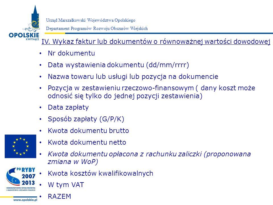 Zarząd Województwa Opolskiego Urząd Marszałkowski Województwa Opolskiego Departament Programów Rozwoju Obszarów Wiejskich IV. Wykaz faktur lub dokumen