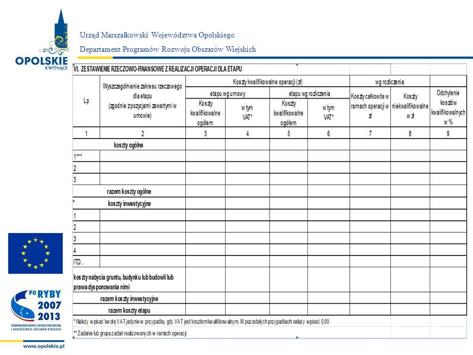 Zarząd Województwa Opolskiego Urząd Marszałkowski Województwa Opolskiego Departament Programów Rozwoju Obszarów Wiejskich