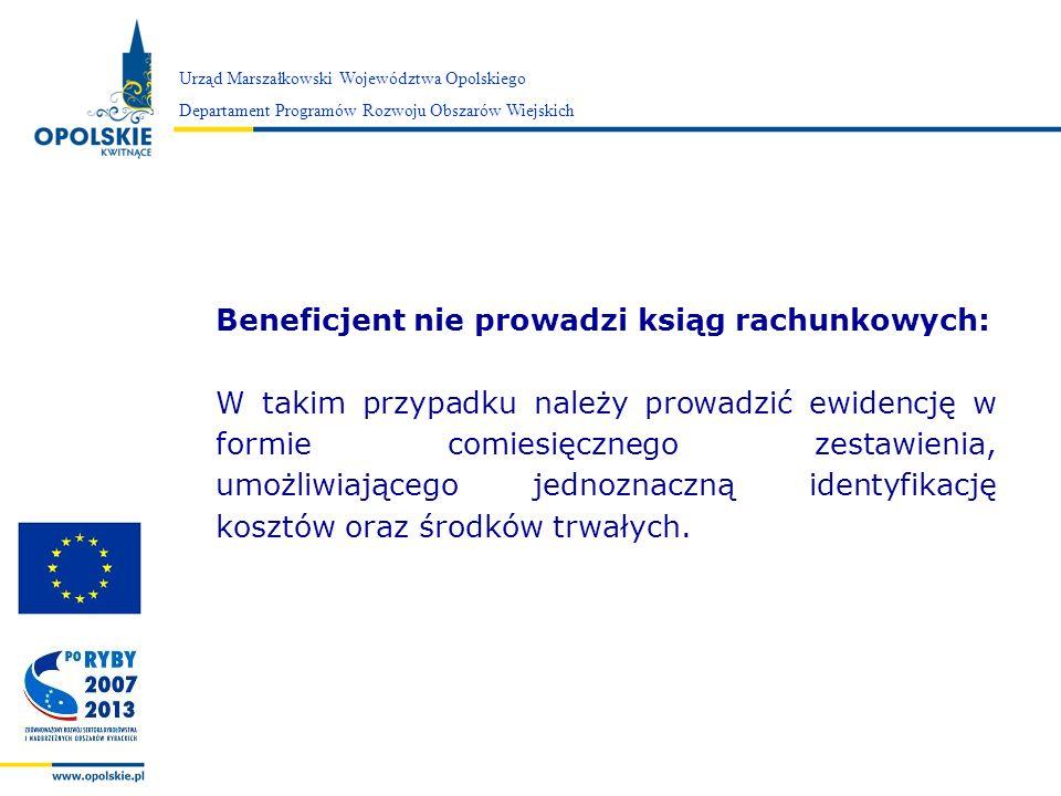 Zarząd Województwa Opolskiego Urząd Marszałkowski Województwa Opolskiego Departament Programów Rozwoju Obszarów Wiejskich Beneficjent nie prowadzi ksi