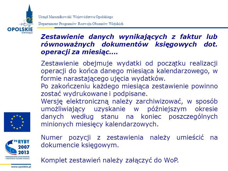 Zarząd Województwa Opolskiego Zestawienie danych wynikających z faktur lub równoważnych dokumentów księgowych dot. operacji za miesiąc…. Zestawienie o