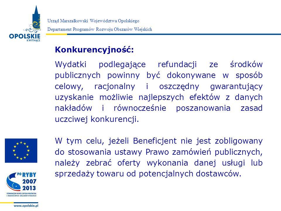 Zarząd Województwa Opolskiego Urząd Marszałkowski Województwa Opolskiego Departament Programów Rozwoju Obszarów Wiejskich Konkurencyjność: Wydatki pod