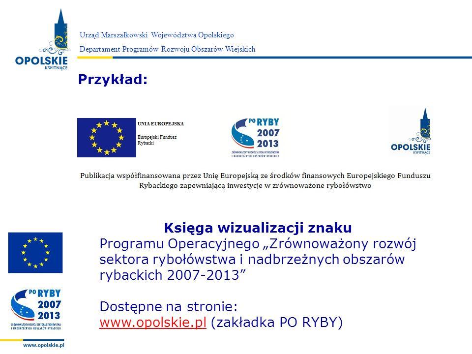 Zarząd Województwa Opolskiego Przykład: Urząd Marszałkowski Województwa Opolskiego Departament Programów Rozwoju Obszarów Wiejskich Księga wizualizacj