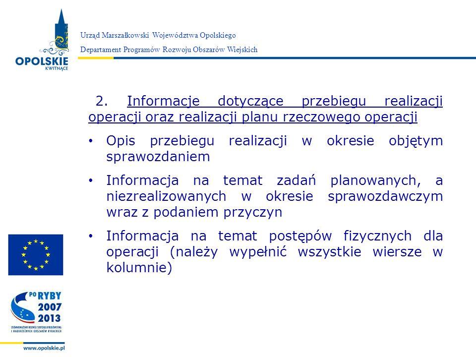 Zarząd Województwa Opolskiego 2. Informacje dotyczące przebiegu realizacji operacji oraz realizacji planu rzeczowego operacji Opis przebiegu realizacj