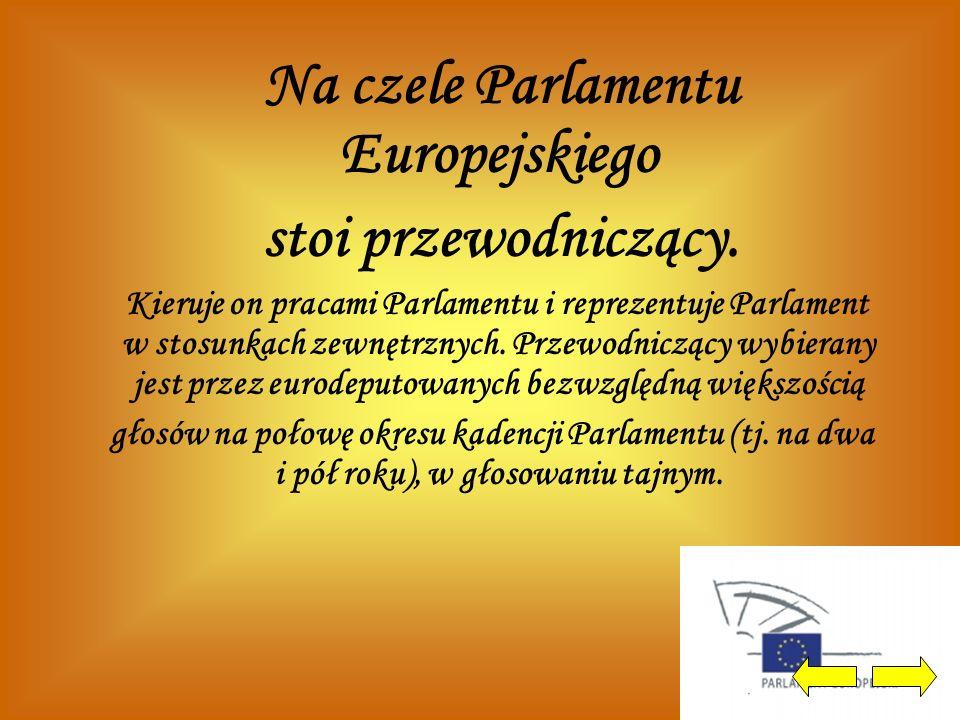 Na czele Parlamentu Europejskiego stoi przewodniczący. Kieruje on pracami Parlamentu i reprezentuje Parlament w stosunkach zewnętrznych. Przewodnicząc