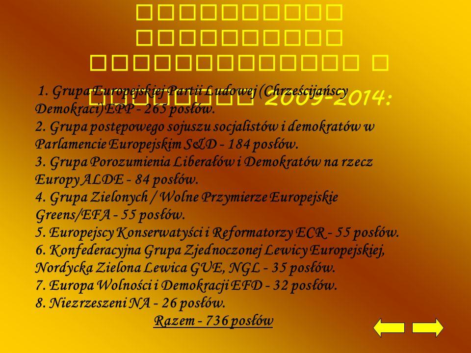 Ugrupowanie polityczne Parlamentu Europejskiego w kadencji 2009-2014: 1. Grupa Europejskiej Partii Ludowej (Chrześcijańscy Demokraci) EPP - 265 posłów