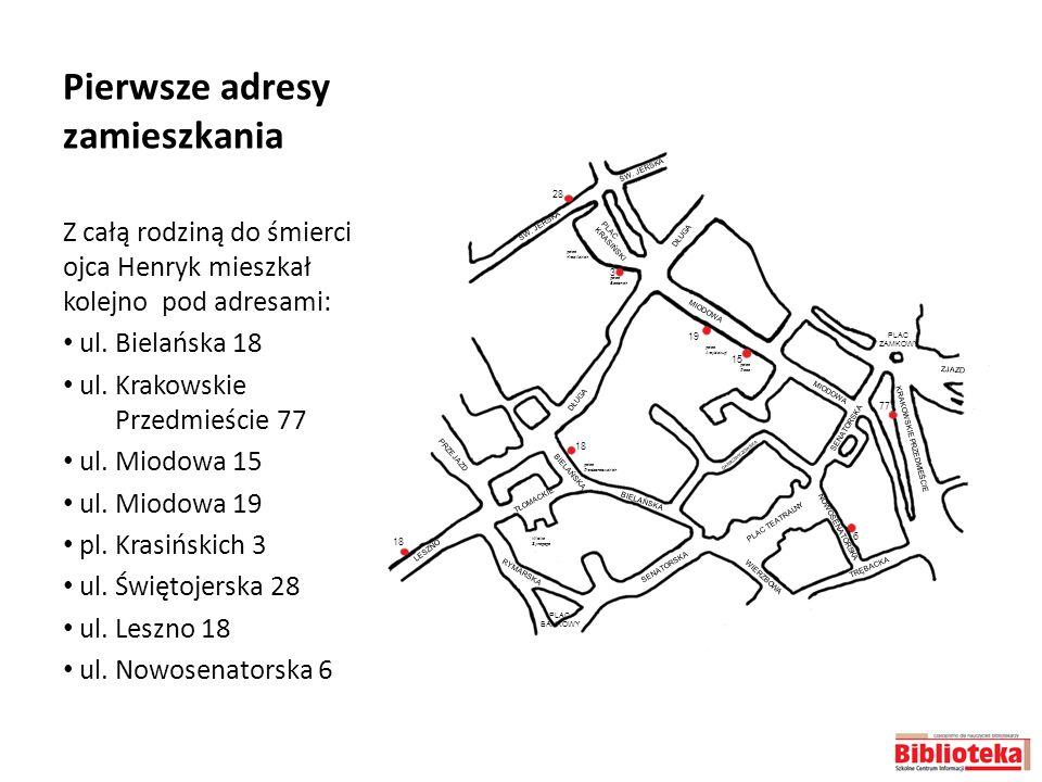 Pierwsze adresy zamieszkania Z całą rodziną do śmierci ojca Henryk mieszkał kolejno pod adresami: ul. Bielańska 18 ul. Krakowskie Przedmieście 77 ul.