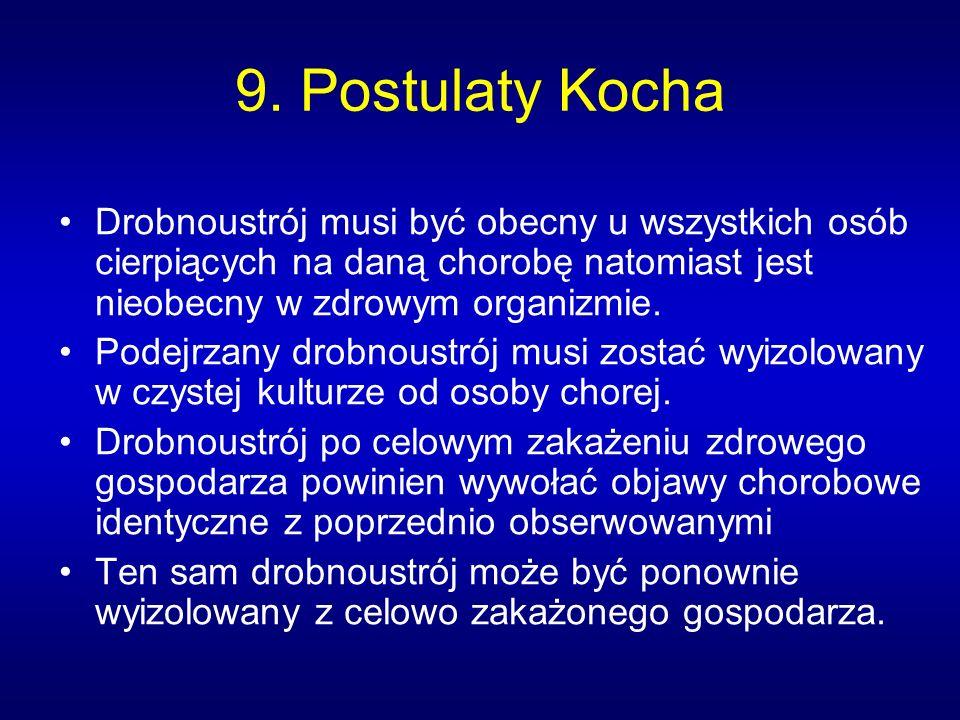 9. Postulaty Kocha Drobnoustrój musi być obecny u wszystkich osób cierpiących na daną chorobę natomiast jest nieobecny w zdrowym organizmie. Podejrzan