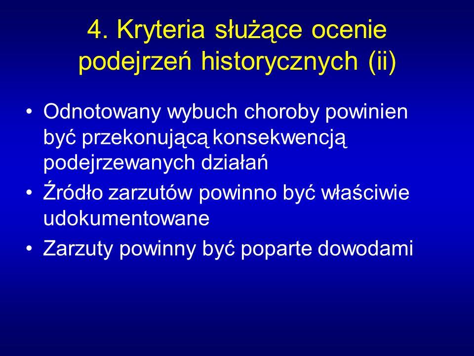4. Kryteria służące ocenie podejrzeń historycznych (ii) Odnotowany wybuch choroby powinien być przekonującą konsekwencją podejrzewanych działań Źródło
