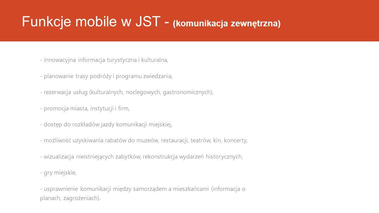 Funkcje mobile w JST - (komunikacja zewnętrzna) - innowacyjna informacja turystyczna i kulturalna, - planowanie trasy podróży i programu zwiedzania, - rezerwacja usług (kulturalnych, noclegowych, gastronomicznych), - promocja miasta, instytucji i firm, - dostęp do rozkładów jazdy komunikacji miejskiej, - możliwość uzyskiwania rabatów do muzeów, restauracji, teatrów, kin, koncerty, - wizualizacja nieistniejących zabytków, rekonstrukcja wydarzeń historycznych, - gry miejskie, - usprawnienie komunikacji między samorządem a mieszkańcami (informacja o planach, zagrożeniach).