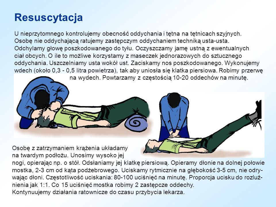 Układanie w pozycji bocznej bezpiecznej (1) Przed ułożeniem osoby nieprzytomnej na boku w pozycji bezpiecznej, należy wykluczyć uraz kręgosłupa szyjnego.
