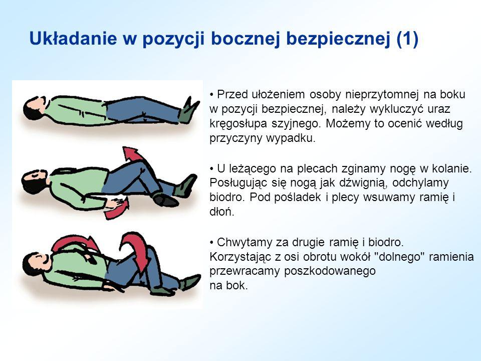 Układanie w pozycji bocznej bezpiecznej (2) U leżącego na boku, dolne ramię wysuwamy za plecy, aby ustabilizować pozycję ciała.