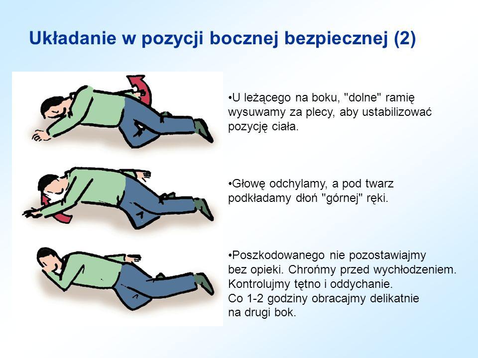 Urazy głowy i klatki piersiowej Osobę przytomną z raną głowy należy ułożyć w pozycji półsiedzącej podpartej.