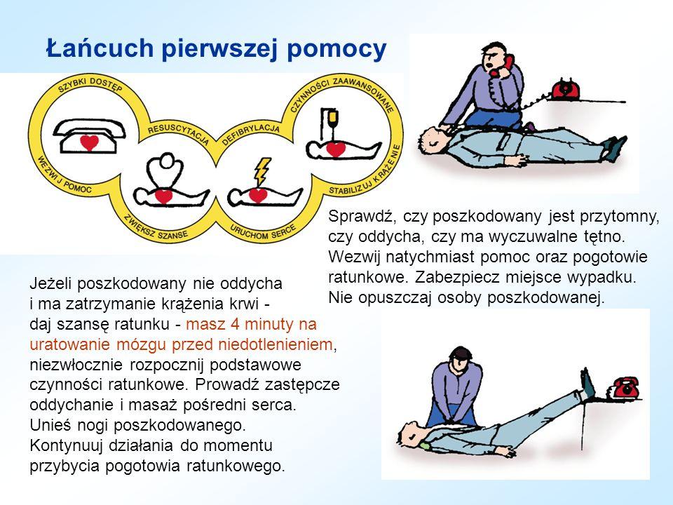 Łańcuch pierwszej pomocy Sprawdź, czy poszkodowany jest przytomny, czy oddycha, czy ma wyczuwalne tętno. Wezwij natychmiast pomoc oraz pogotowie ratun