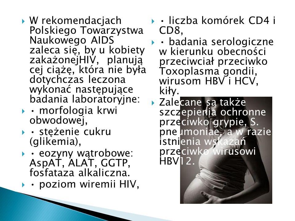 W rekomendacjach Polskiego Towarzystwa Naukowego AIDS zaleca się, by u kobiety zakażonejHIV, planują cej ciążę, która nie była dotychczas leczona wyko