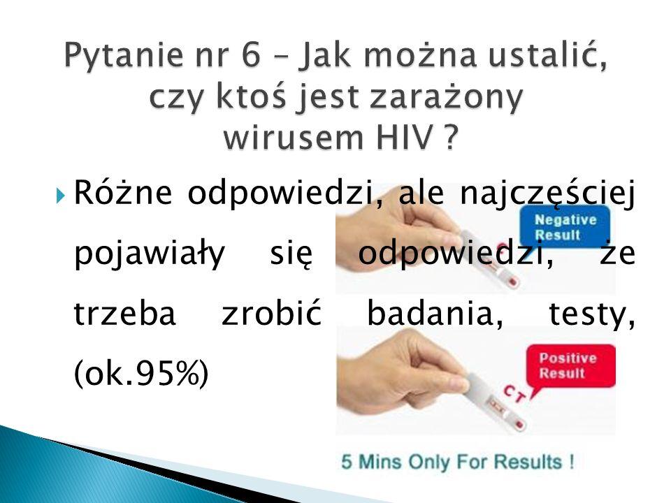 Różne odpowiedzi, ale najczęściej pojawiały się odpowiedzi, że trzeba zrobić badania, testy, (ok.95%)