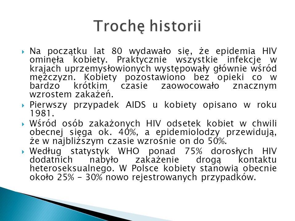 Na początku lat 80 wydawało się, że epidemia HIV ominęła kobiety. Praktycznie wszystkie infekcje w krajach uprzemysłowionych występowały głównie wśród