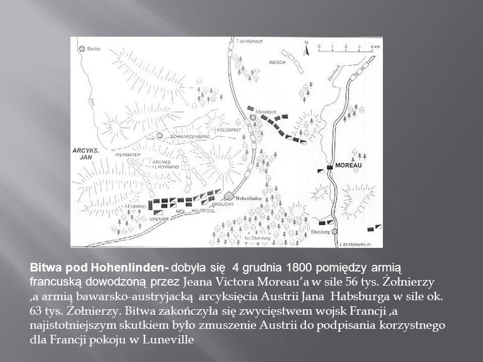 Bitwa pod Hohenlinden- dobyła się 4 grudnia 1800 pomiędzy armią francuską dowodzoną przez Jeana Victora Moreaua w sile 56 tys.