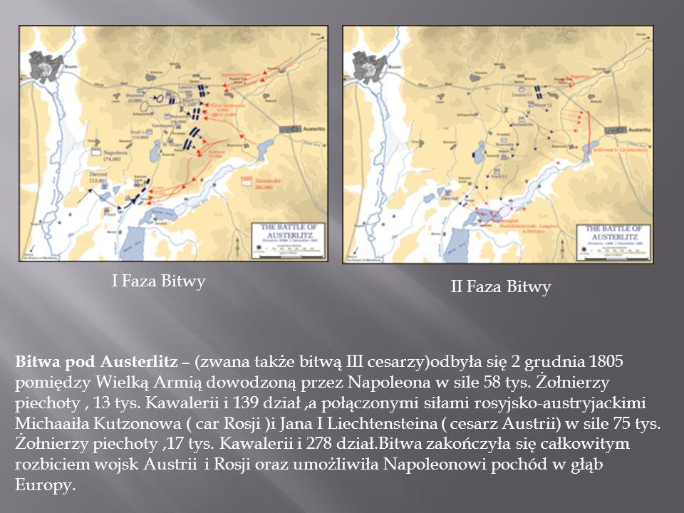 Bitwa pod Austerlitz – (zwana także bitwą III cesarzy)odbyła się 2 grudnia 1805 pomiędzy Wielką Armią dowodzoną przez Napoleona w sile 58 tys.