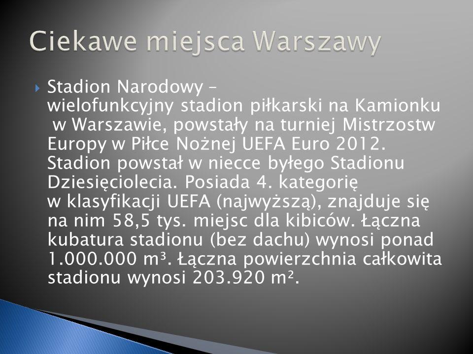 Stadion Narodowy – wielofunkcyjny stadion piłkarski na Kamionku w Warszawie, powstały na turniej Mistrzostw Europy w Piłce Nożnej UEFA Euro 2012.